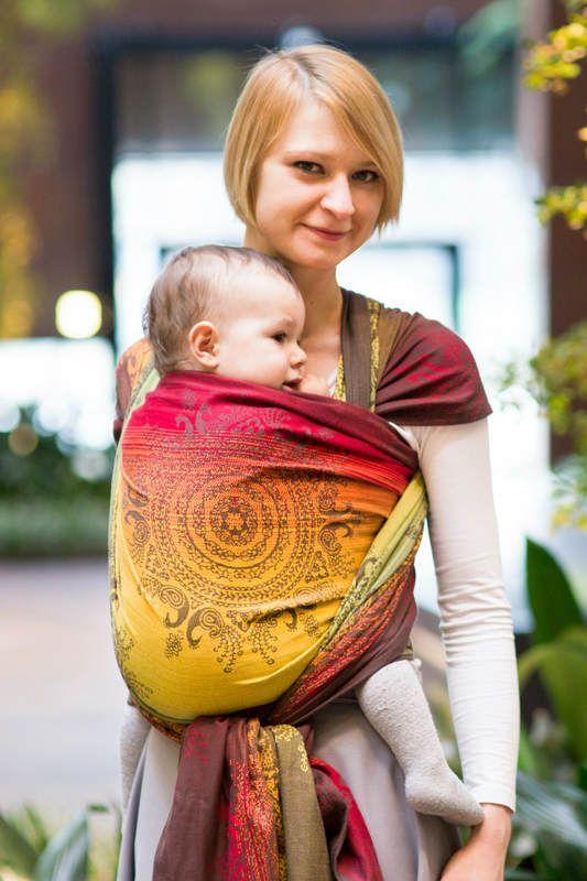 Żakardowa chusta do noszenia dzieci, bawełna - SZLACHETNY PAW INDYJSKI, rozmiar XS (drugi gatunek) #babywearing