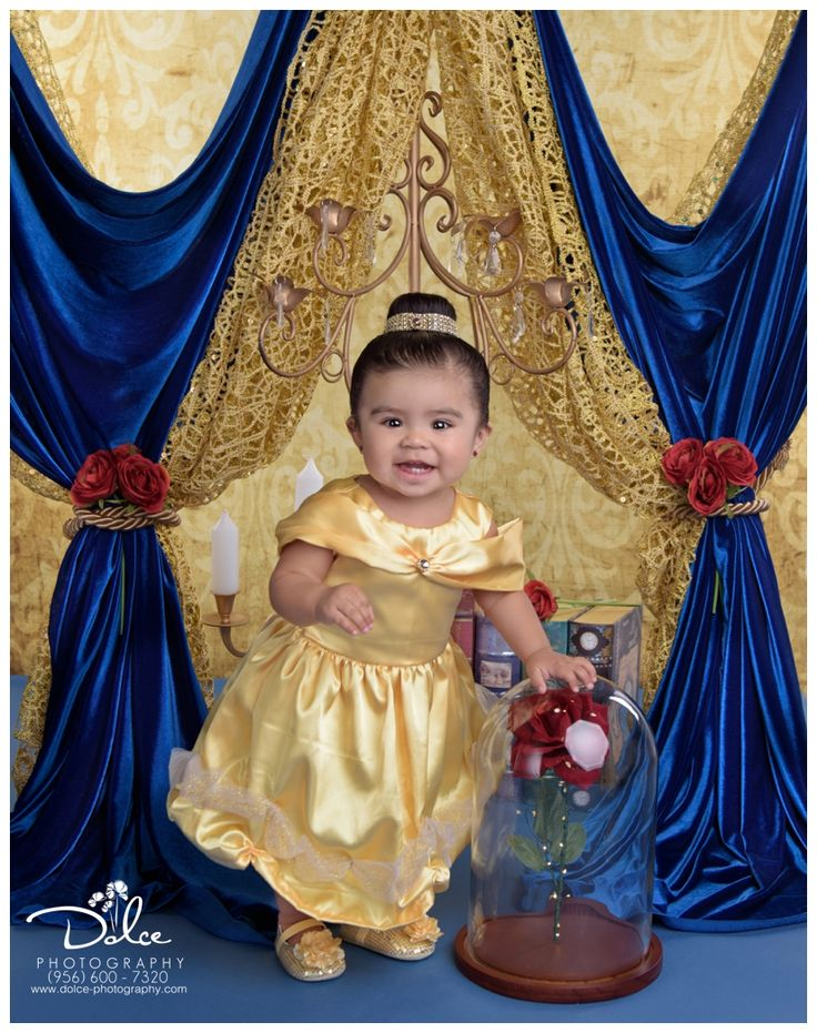 First Birthday Beauty and the Beast portrait cake smash session with Dolce Photography in Palmview Texas.
