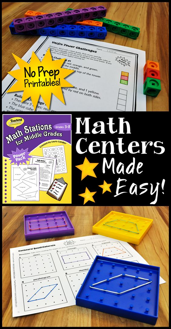 Math Centers Made Easy! Math Stations for Middle Grades (3-6) includes loads of no prep printables and activities as well as management strategies and organizational tools. Check it out on LauraCandler.com!