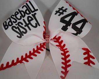 Cheer Bow Baseball Sister CUSTOM (your #)  on White grosgrain by BlingItOnCheerBowz