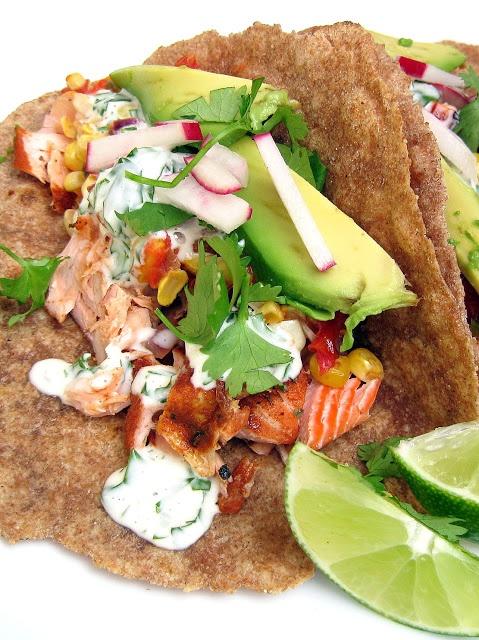 Blackened Salmon Tacos with Roasted Corn Salsa and Cilantro-Lime Aioli