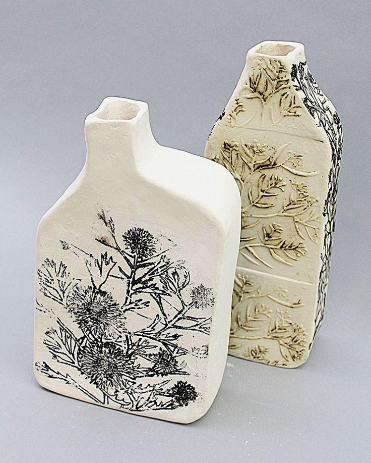Chimney Pots Isopogan anemonifolius Grevillea parviflora #ceramics#ceramicart#pottery#contemoraryceramics#art#contemporaryart#nativeplants#australianplants#Newcastle#Newcastleplants