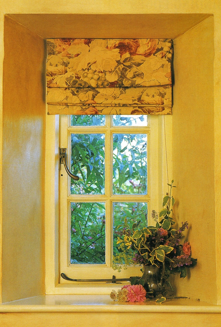 Colorful Patterned Roman Shades Kitchen Windows
