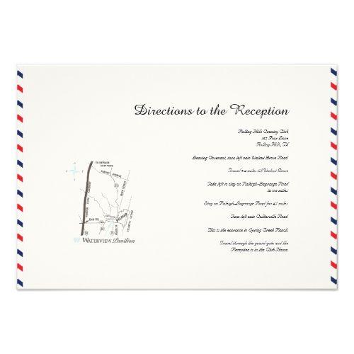 Americana Hearts Wedding Directions Card