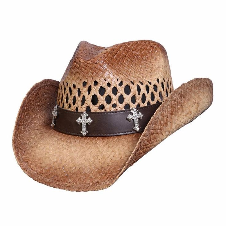 Three Cross Western Raffia Hat