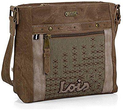LOIS - 91651 Bolso de mujer bandolera ajustable. Cierre con cremallera. Dos bolsillos exteriores, delante y detrás con cremallera. Casual. Bordado.