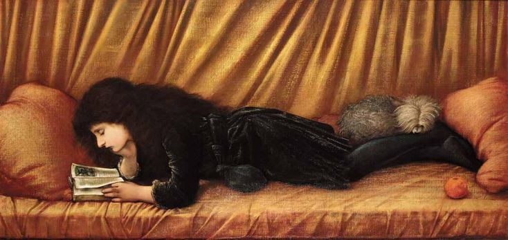 "A girl in black velvet reads a book with her dog by her side. Painting: ""Portrait of Katie Lewis"", 1882-86 by Sir Edward Burne-Jones. This is an unusually casual and intimate portrait for the era, but Katie (who was 8 years old) was the youngest child of Burne-Jones' dear friend and a honorary niece."