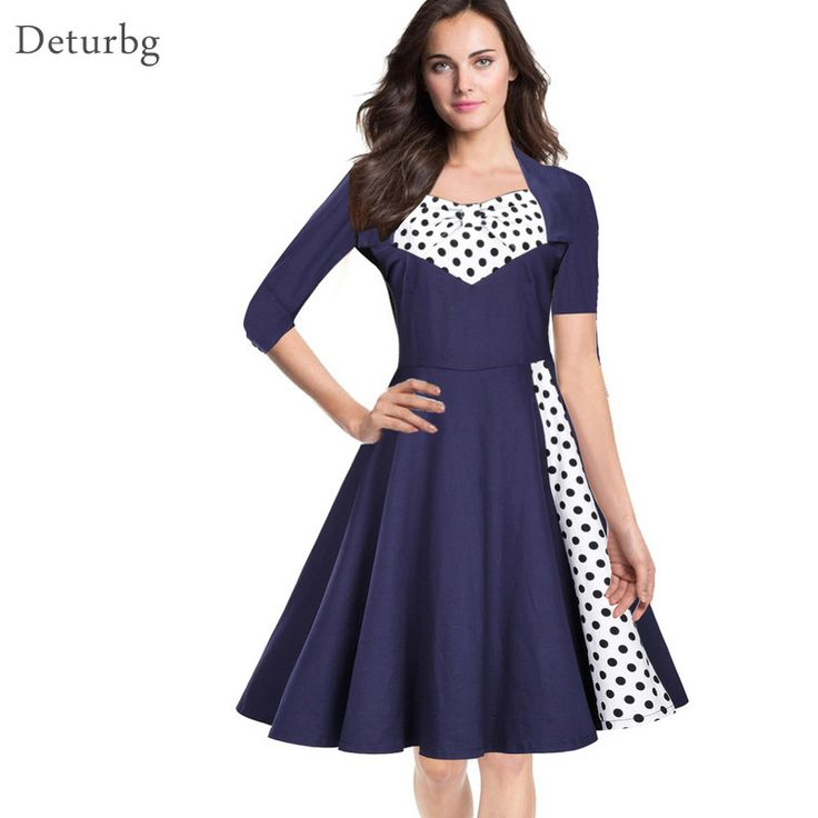 >> Click to Buy << Womens Hepburn Style Dot Print Dress Plus Size Female 3/4 Sleeve Square Collar Pleated Office Slim Dresses 2017 Spring Dr256 #Affiliate