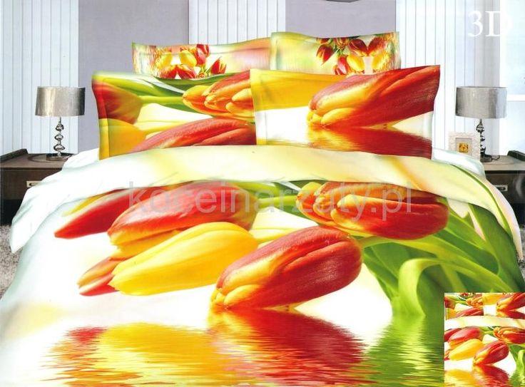 Pomarańczowo żółte tulipany satynowa pościel biała