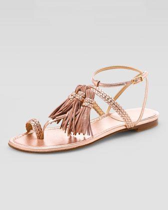 sast sale online Stuart Weitzman Tassel Accented Thong Sandals outlet footlocker pFCNTaNCQh