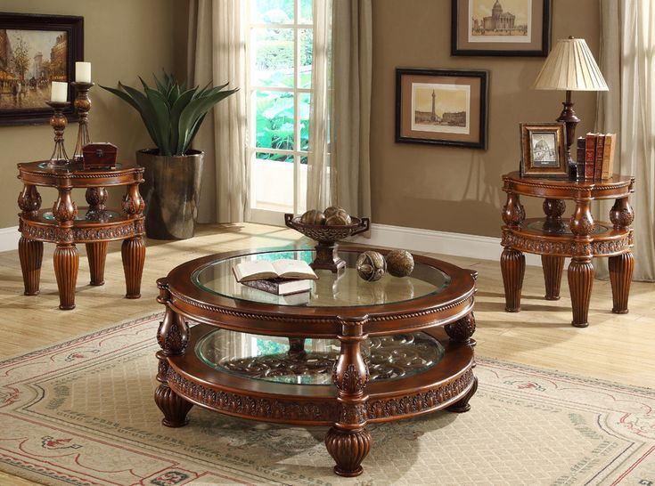 "Homey Design Coffee Table HD-1521 Description: The glass and solid wood combination of this Coffee Table, adds a more sophisticated and unique design.  Features:  Traditional Style Curved Solid Wood Dimensions: Coffee Table : 46""D x 20""H"
