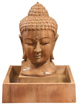 Buddha Head Outdoor Fountain - Small, Absolute - asian - Outdoor Fountains - Soothing Company