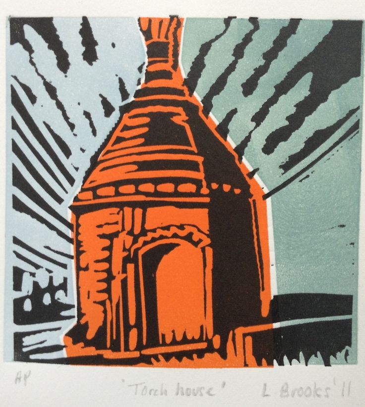 Linocut, Walsingham, Norfolk. By artist Lesley Brooks.  I found this little building in the middle of the community. I made a linocut design from a photograph I took and called it 'Torch House'. I need to find out more about this small building's original purpose.