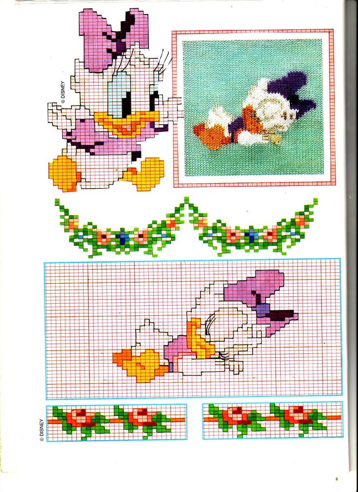 Baby paperina punto croce che dorme con bordo fiori for Disney punto croce schemi gratis
