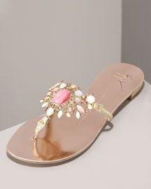 Giuseppe Zanotti Jeweled Thong Sandal