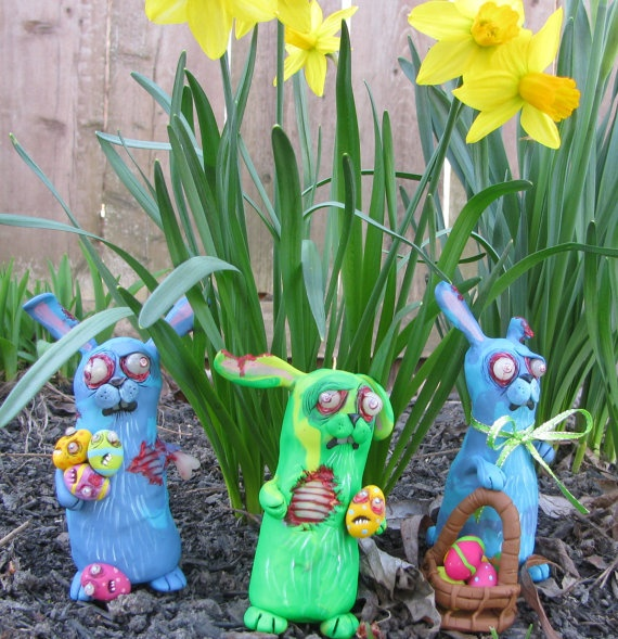 zomBie BuNNy by mealymonster on Etsy, $32.00 .... too expensive, but adorable.
