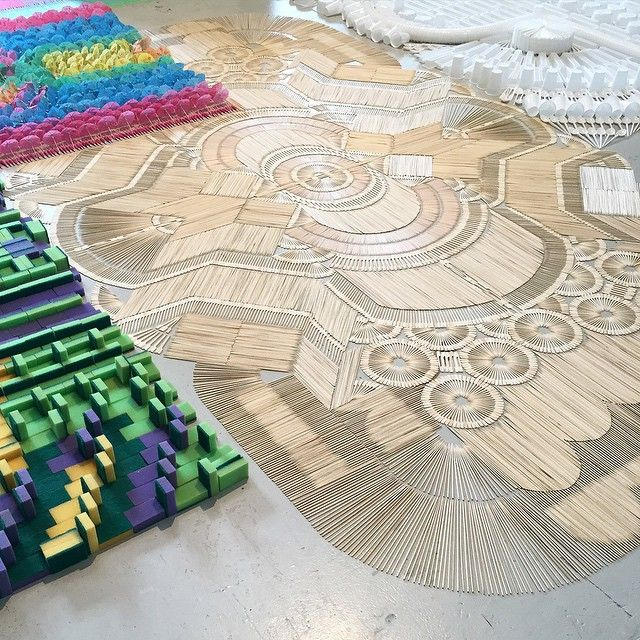 #WeMakeCarpets at #VenturaLambrate. Carpets made from sticks, foam, chalk, plastic cups, pasta - whatever! Super cool. #Yellowtrace #MilanDesignWeek2015 #fuorisalone2015 #MILANTRACE #MILANTRACE2015