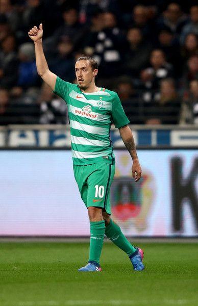 Max Kruse of Bremen gestures during the Bundesliga match between Eintracht Frankfurt and Werder Bremen at Commerzbank-Arena on April 7, 2017 in Frankfurt am Main, Germany.
