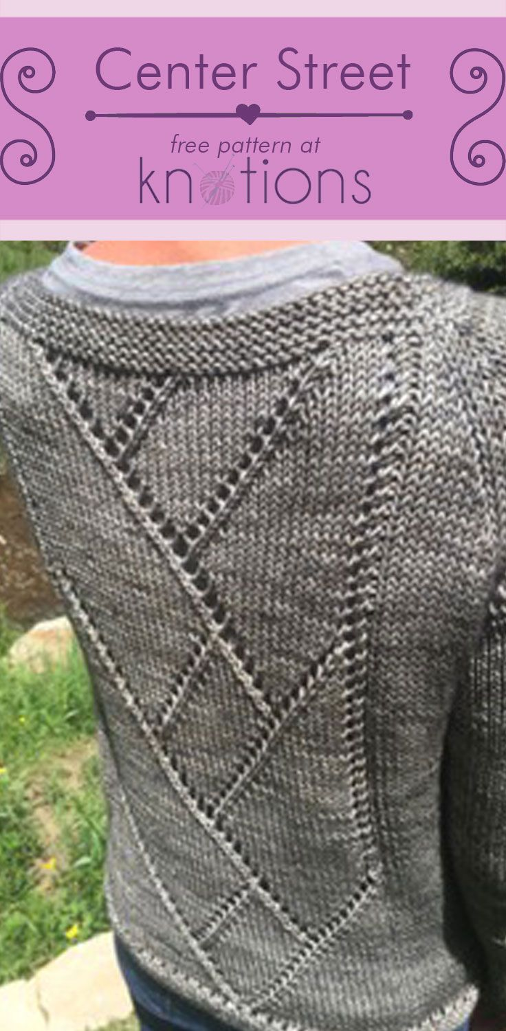 Free knitting pattern for a bottom-up raglan with a simple eyelet motif along the back. Garter stitch cuffs and neckbands complete to look of this easy top!