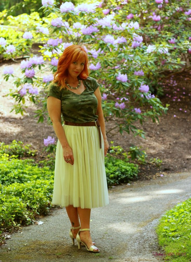 tulle skirt, camo tee shirt, metallic sandals