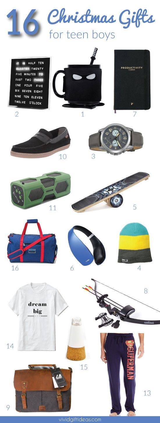 16 Coolest Christmas Gifts for Teen Boys. includes electronics gadgets, teen guys fashion, room decor, men accessories and more.