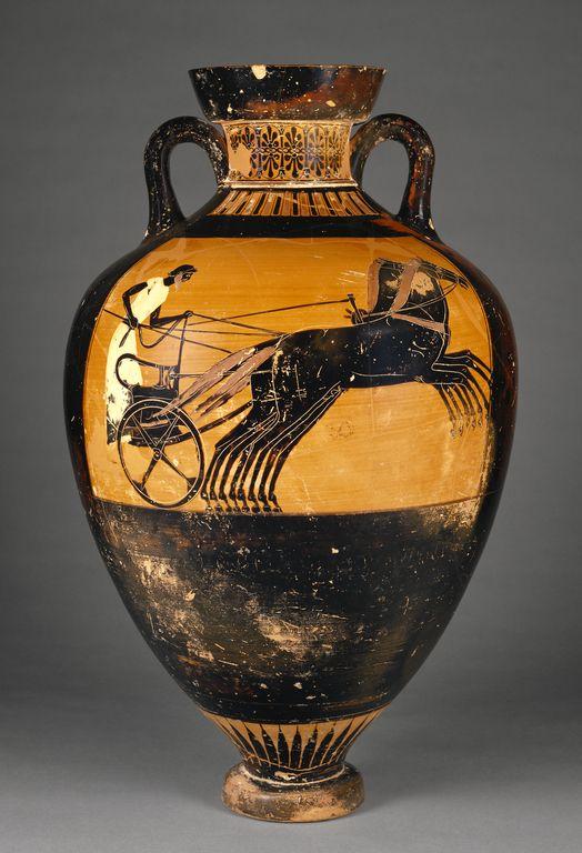 Attic Panathenaic Amphora   Kleophrades Painter ,   Greek (Attic)   Athens, Greece  Date:  490 - 480 B.C.  Terracotta