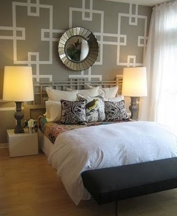 Wall design.in orange for the bedroom