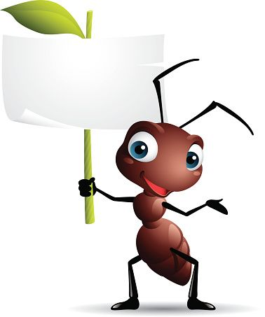 Cartoon graphics of ant holding sign