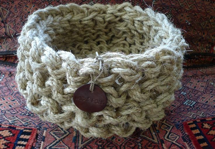 BIG Knitted sisal basket by Wic & Folk