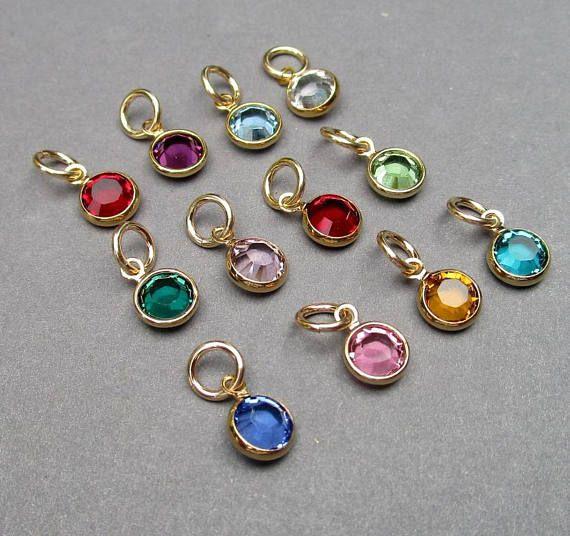 Swarovski Gold Birthstone Charms 6mm Swarovski Crystal Etsy Personalized Jewelry Birthstone Charm Necklace Birthstone Charms