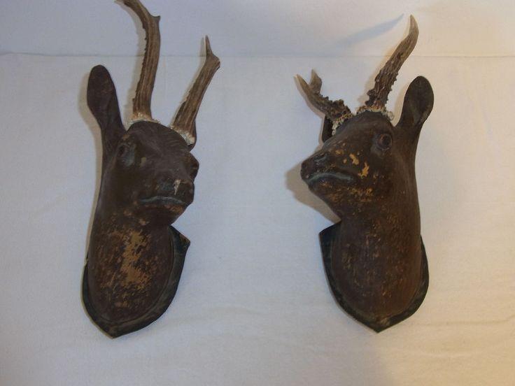 2 Antique German Folk Art Pottery Deer Head Real Antler #^