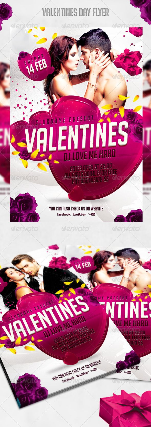 valentines day flyer templates psd