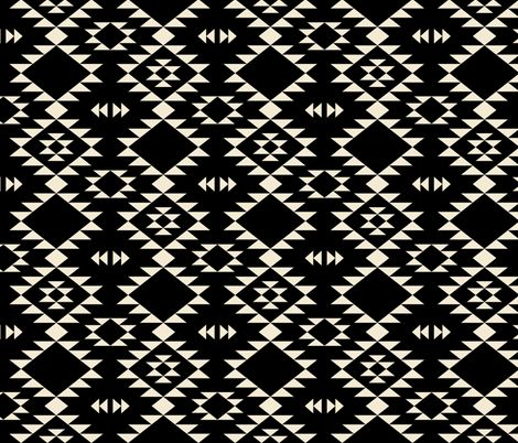 Navajo Black off White fabric by kimsa on Spoonflower - custom fabric