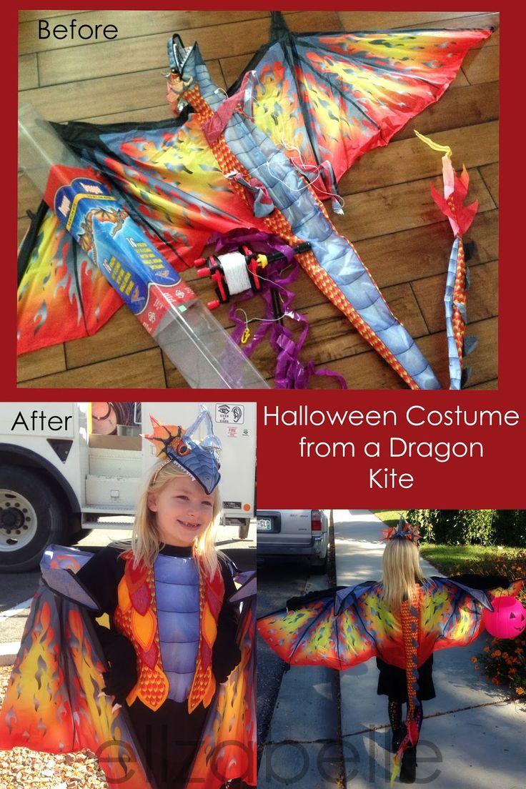 DIY Dragon Halloween Costume from a Kite $5 kite and $5 sweatshirt plus felt, glue gun, sewing machine optional and creativity necessary!!!