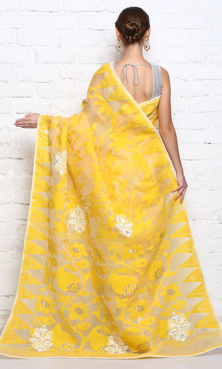 Yellow And White Saree