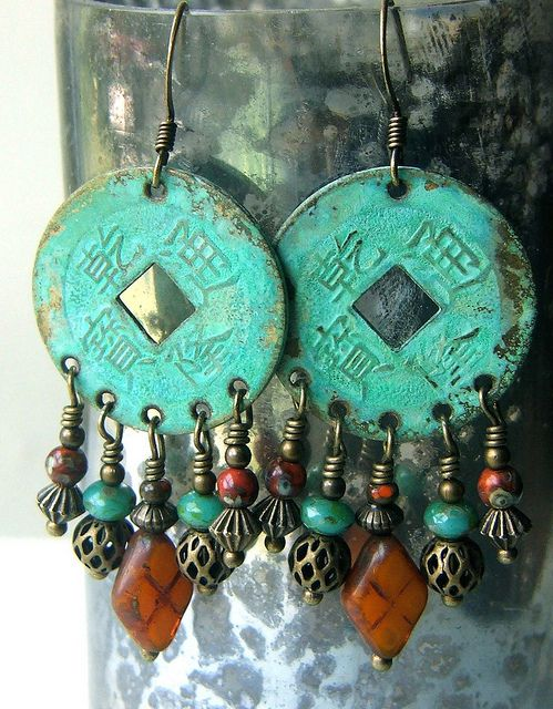 Asian coin earrings by lilruby, via Flickr - I made some just like these but the main earring part was turquoise but NOT asian coins