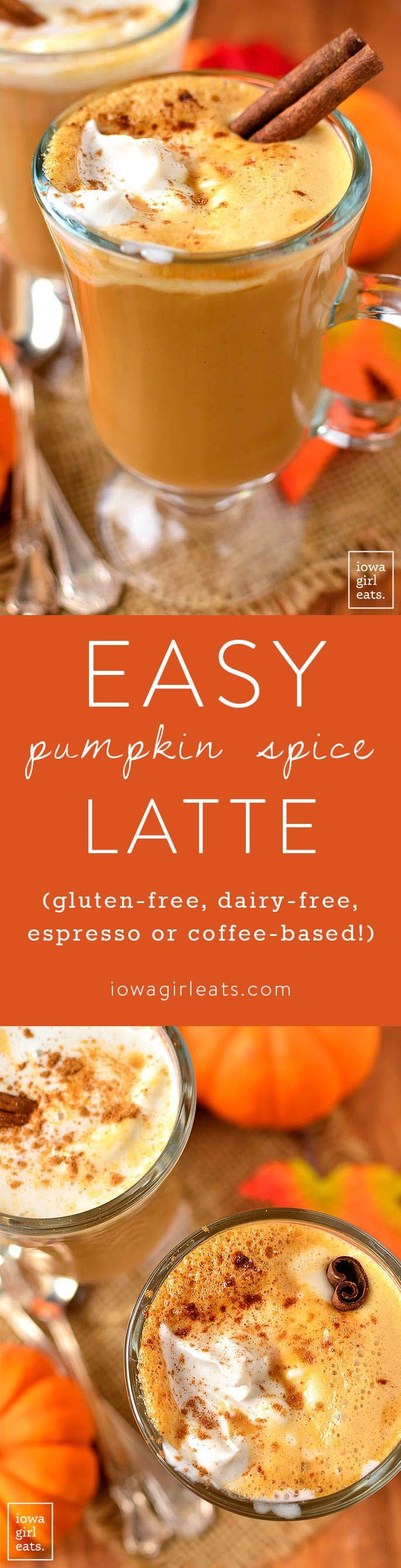 Save money and calories by making your own Pumpkin Spice Latte at home in 5 minutes or less! Use espresso, strong coffee, or keep it caffeine-free for a yummy, kid-friendly drink.  | iowagirleats.com