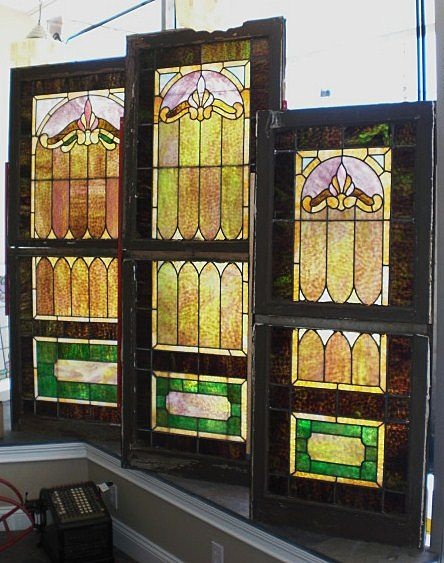 Set of 3 all matching double hung stained glass windows 6 for Victorian era windows