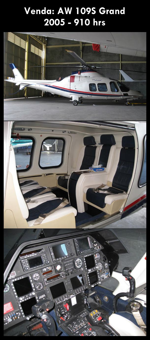 Aeronave à venda: Agusta Westland AW 109S Grand, 2005, 910 hrs. #agusta #agustawestland #aw109sgrand #agustagrand #airsoftanv #aircraftforsale #aeronaveavenda #pilot #piloto #helicoptero #aviation #aviacao #heli #helicopterforsale  www.airsoftaeronaves.com.br/H218