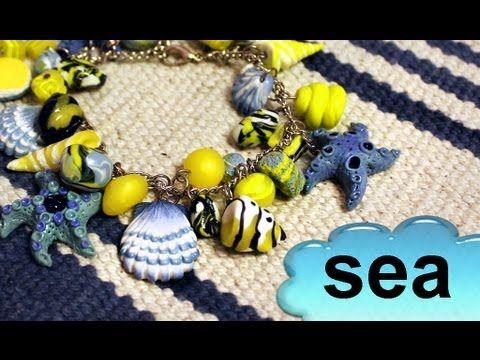 Полимерная глина - Морской БРАСЛЕТ / Polymer clay Marine bracelet - YouTube