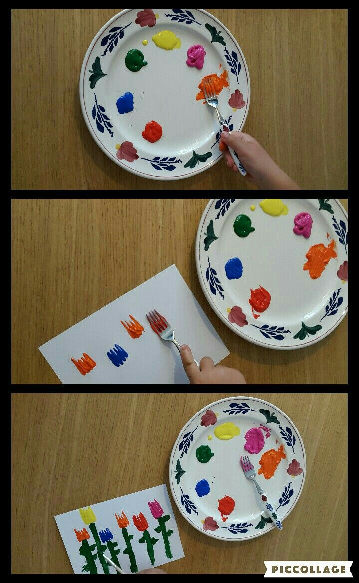 Met een vork en verf leuke tulpen/bloemen maken. #verf #vork #knutselen #kinderen