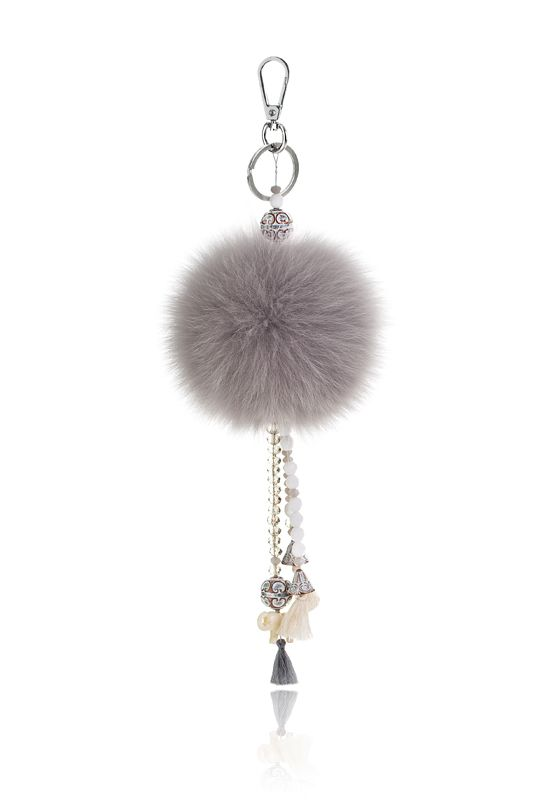 Pompon Bag Charm with 12cm grey real fox fur,metal ring and clip, crystal beads and decorative elements.  Price 42.00E