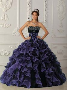 Latest Purple and Black Beaded and Ruffled Quince Dress for Sale - Quinceanera 100