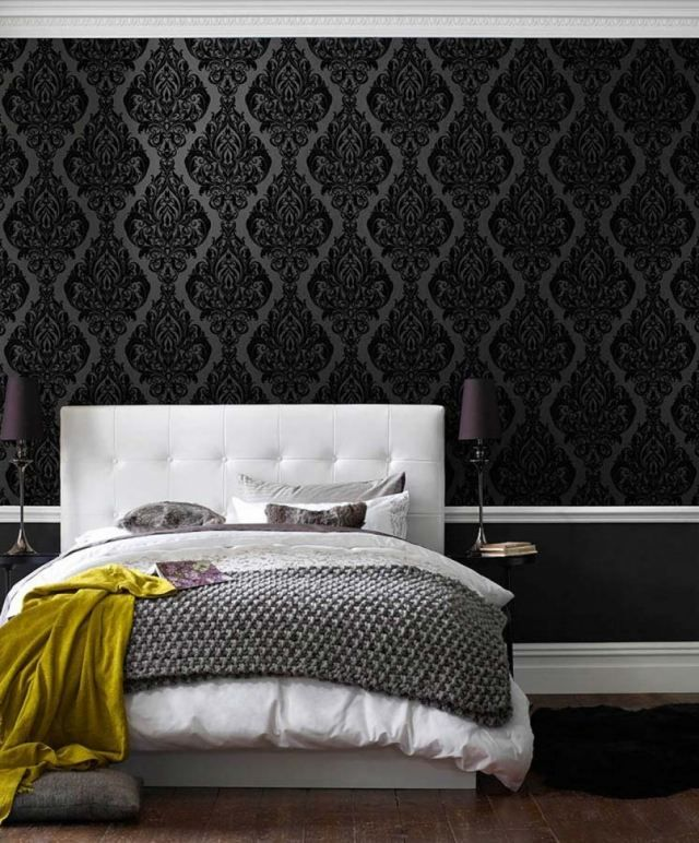 schlafzimmer tapeten schwarze farbe barock muster eshara. Black Bedroom Furniture Sets. Home Design Ideas