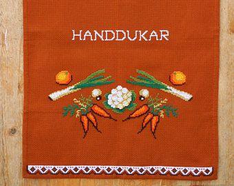 Vintage Tea Towel, Swedish Cross Stitch Embroidery, Cotton Aida, Home Decor, Curtain, Kitchen Decor, Dish Towel, 1970s, Scandinavian Textile