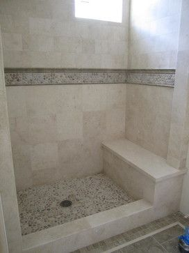 Showers Beautiful Travertine Shower With Accents Of