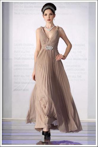 床まで届くの長さ 袖がない すてきな フォーマルイブニングドレス (1714866)