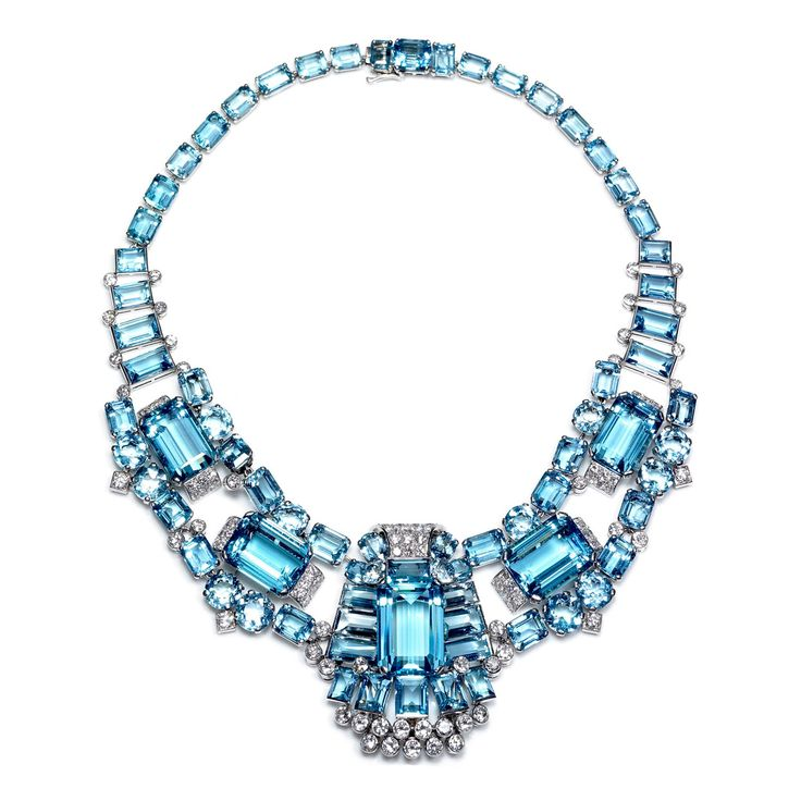 CARTIER  Art Decó Aquamarine & Diamond  Necklace/Brooch
