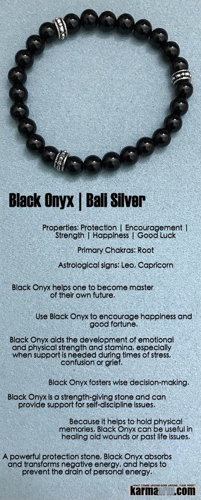 Wear Black Onyx to encourage #happiness and good #fortune. It helps one to become master of their own future. It is a #strength-giving #stone.  ♛  #BEADED #Yoga #BRACELETS  #Chakra #gifts #Macrame #Stretch #Womens #Mens #jewelry #Crystals #Energy #gifts #Handmade #Healing #Kundalini #Law #Attraction #LOA #Love #Mala #Meditation #prayer #Reiki #mindfulness #wisdom #Fashion #birthday #Spiritual #Buddhist #Tony #Robbins #Eckhart #Tolle #Stacks #Lucky