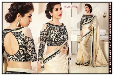 cream ambroidery chiffon party wear saree with blouse Bollywood Sarees Online on Shimply.com